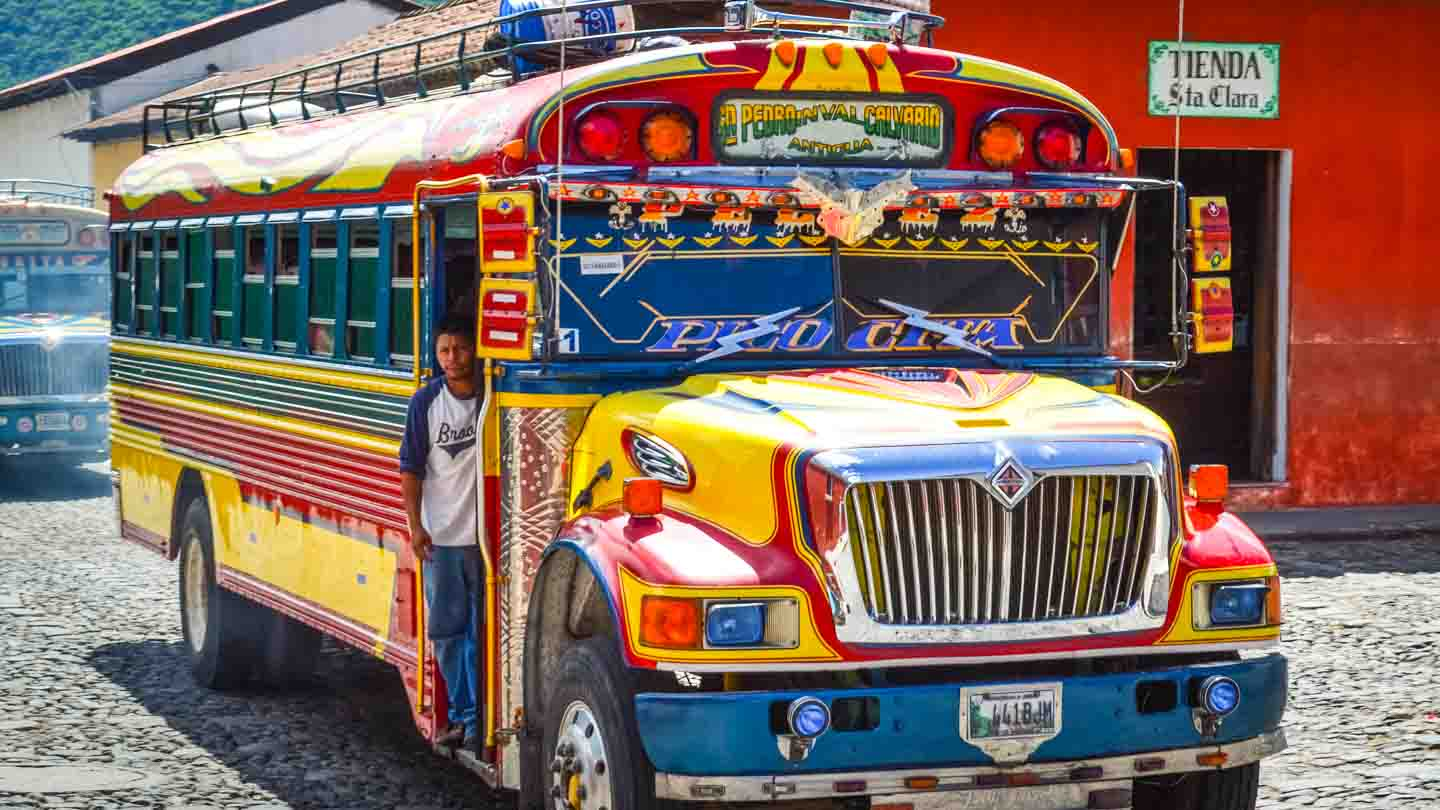 Colorful and cheap way to move around Guatemala: The chicken bus